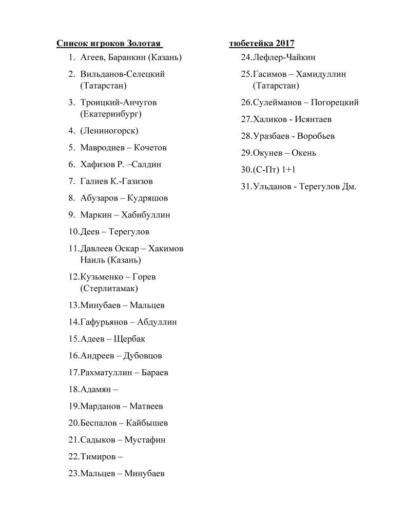 Список на ЗТ 2017